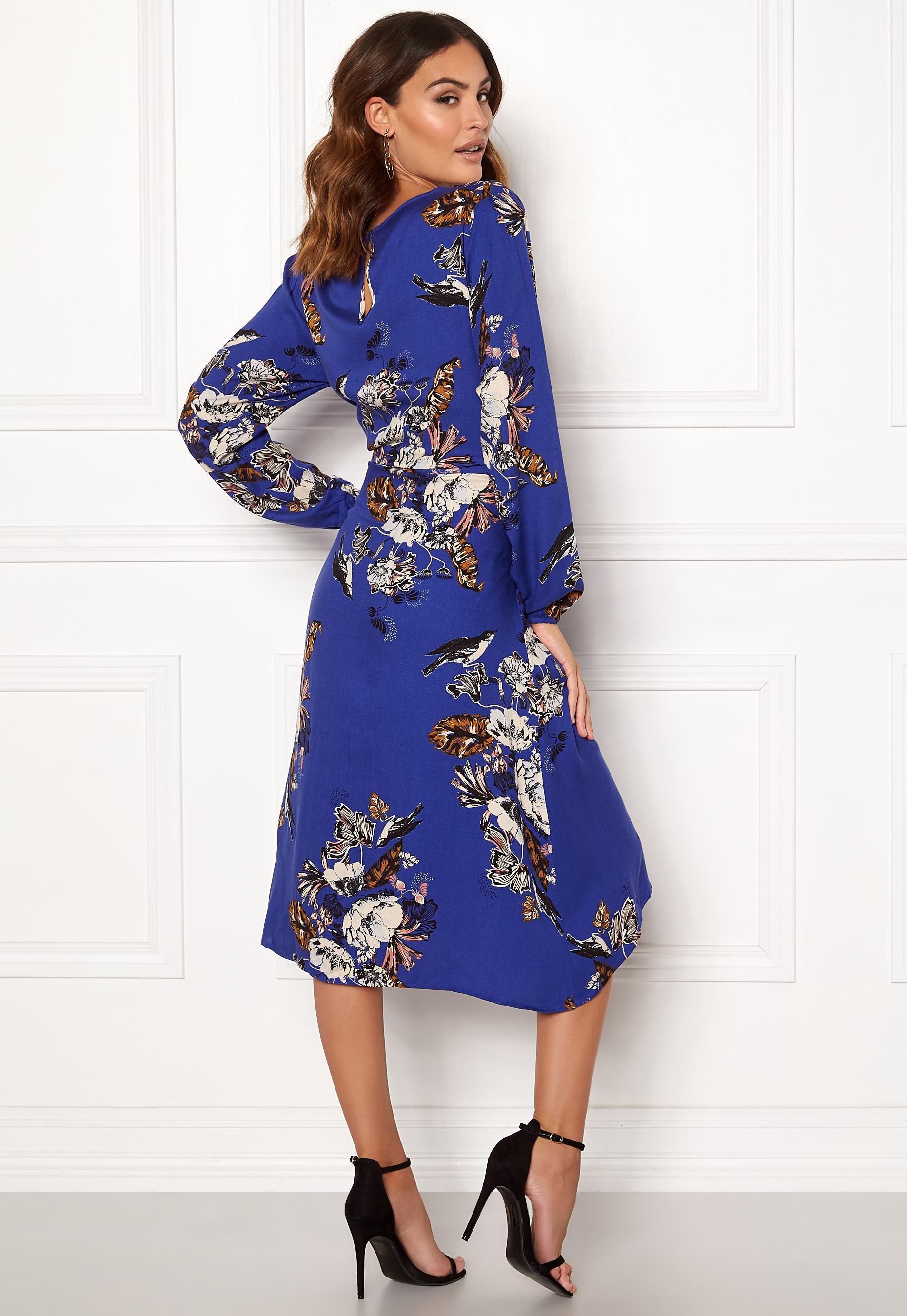 3c0e32063de VILA Esto Sano L/S Midi Dress Clementis Blue - Bubbleroom