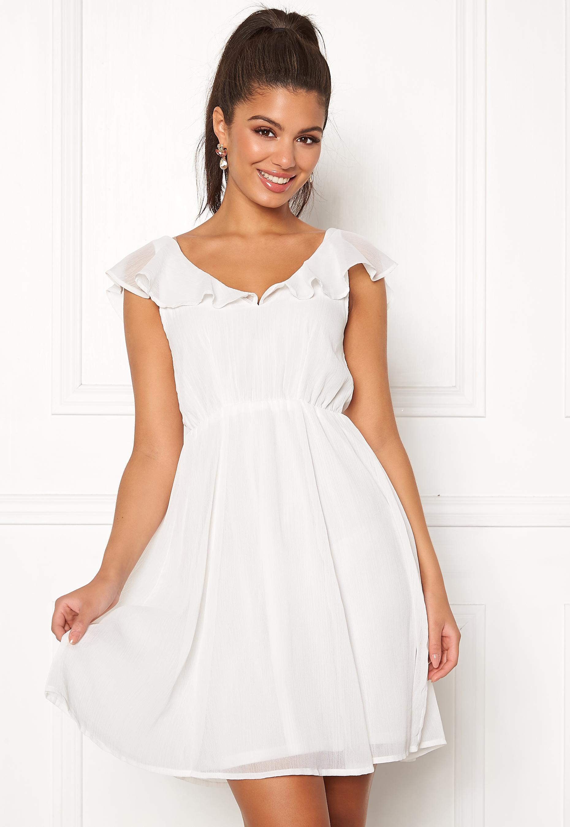 f5ba75bd5f04c VILA Rannsil S/L Short Dress Cloud Dancer - Bubbleroom