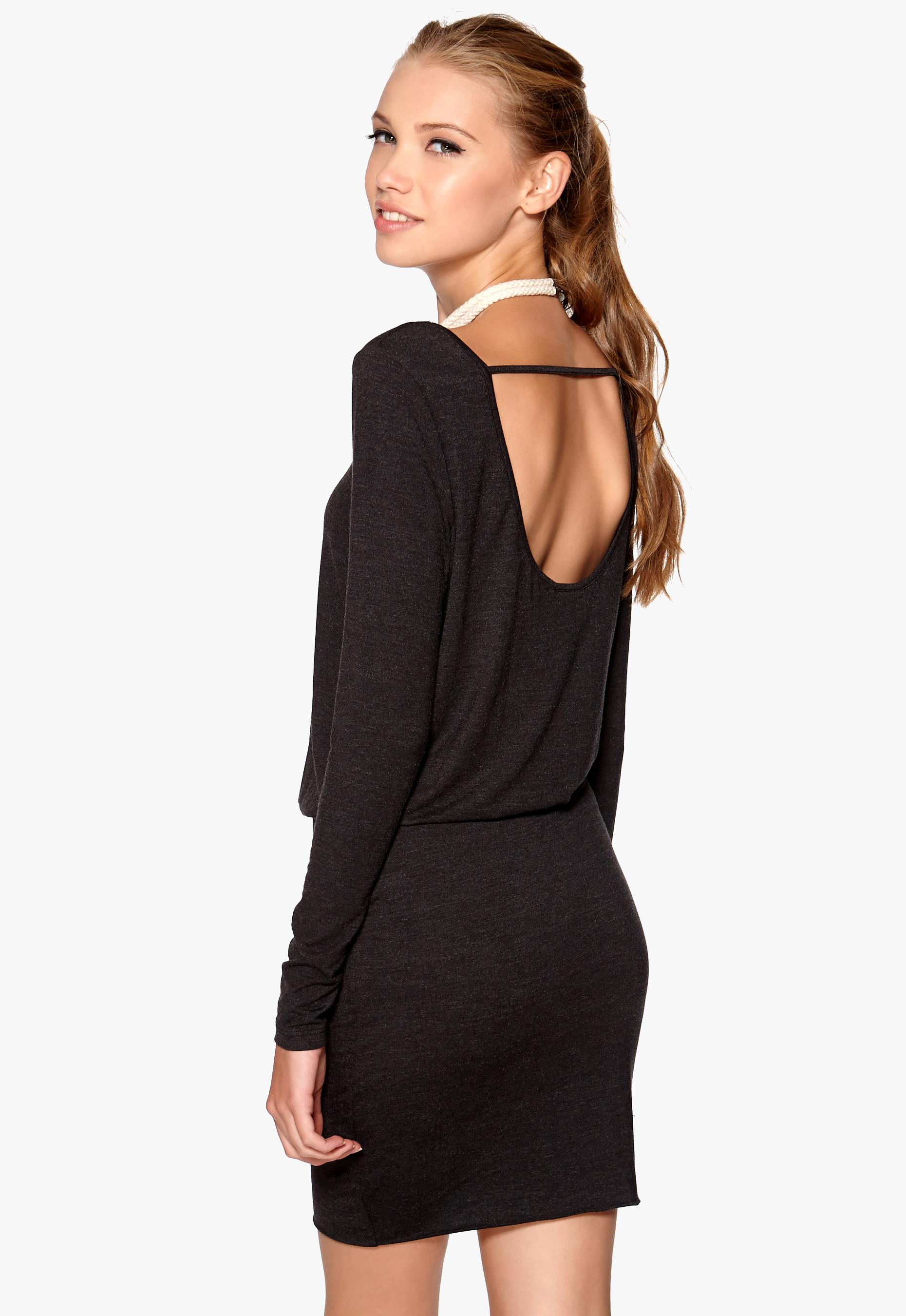 cd00142804629 VILA Sadi L/S Dress Dark Grey Melange - Bubbleroom