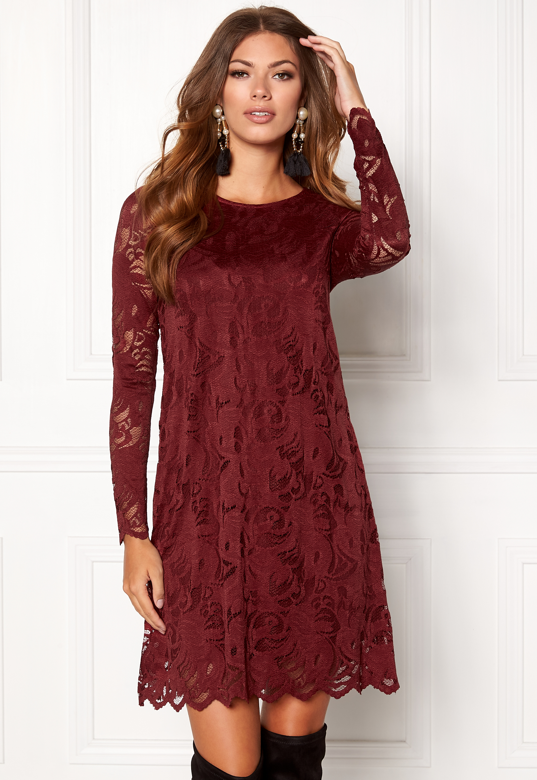 Vila Stasia Lace A Shape Dress Cabernet Bubbleroom