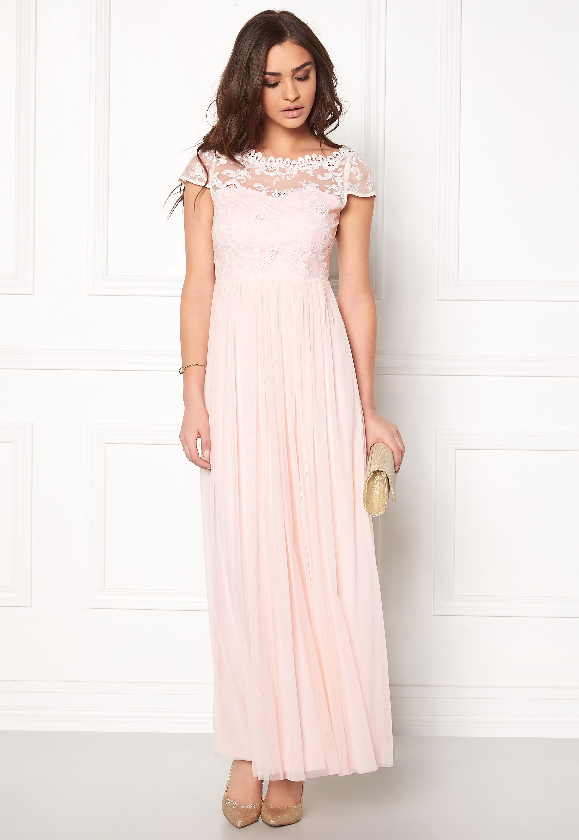 1d0ebfbff521 VILA Ulricana s/s Maxi Dress Silver Peony - Bubbleroom