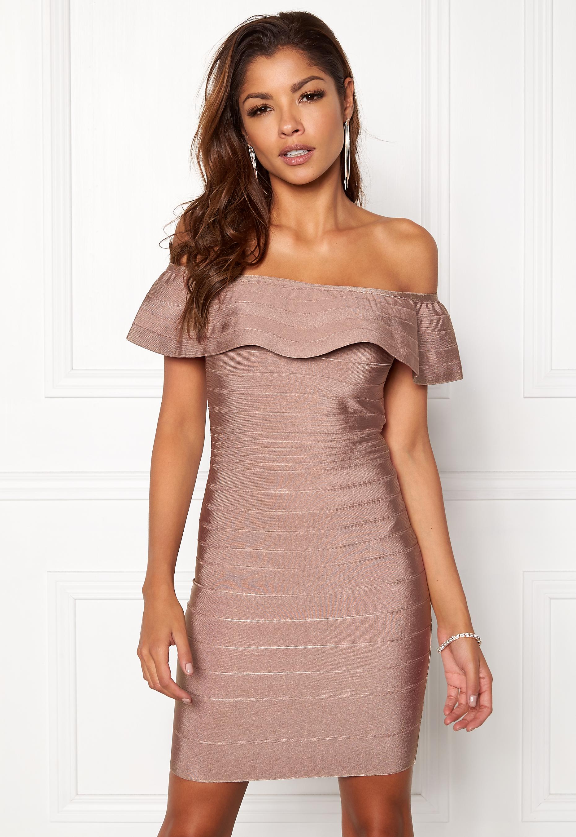 bf42596e WOW COUTURE Sonnet Bandage Mini Dress Almond - Bubbleroom